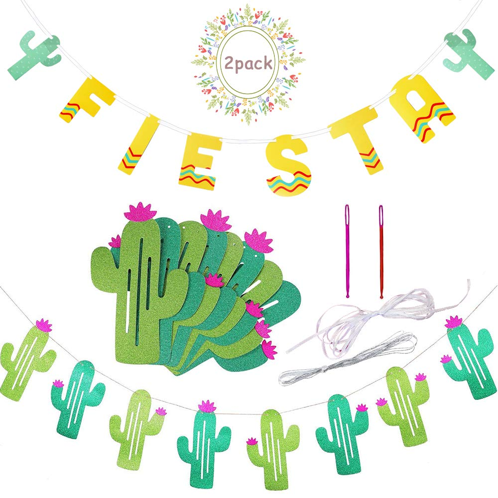 Fiesta Cactus Banner Garland Background String Cactus Party Decorations for Birthday Tropical Wedding Mexican Taco Cinco De Mayo Party