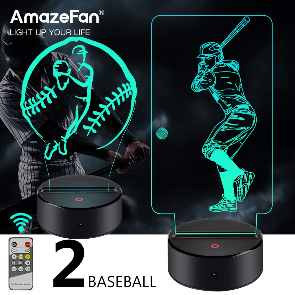 AmazeFan Baseball Night Light for Kids - 3D Baseball Night Lamp 7 Colors Optical Illusion Touch & Remote Control with 2 Acrylic Flats Best Birthday Christmas New Year Gifts for Boys Girls Baby