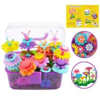 POMIKU Girls Toys for 3, 4, 5, 6 Year Old Toddler Girls Gifts, Flower Garden Building Toys for Kids Age 3yr-6yr, Build a Garden STEM Fun Flower Toy (109PCS)