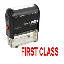 First Class Self Inking Rubber Stamp - Red Ink