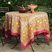 Couleur Nature Jardine Tablecloth, 71-inches by 71-inches, Red/Yellow