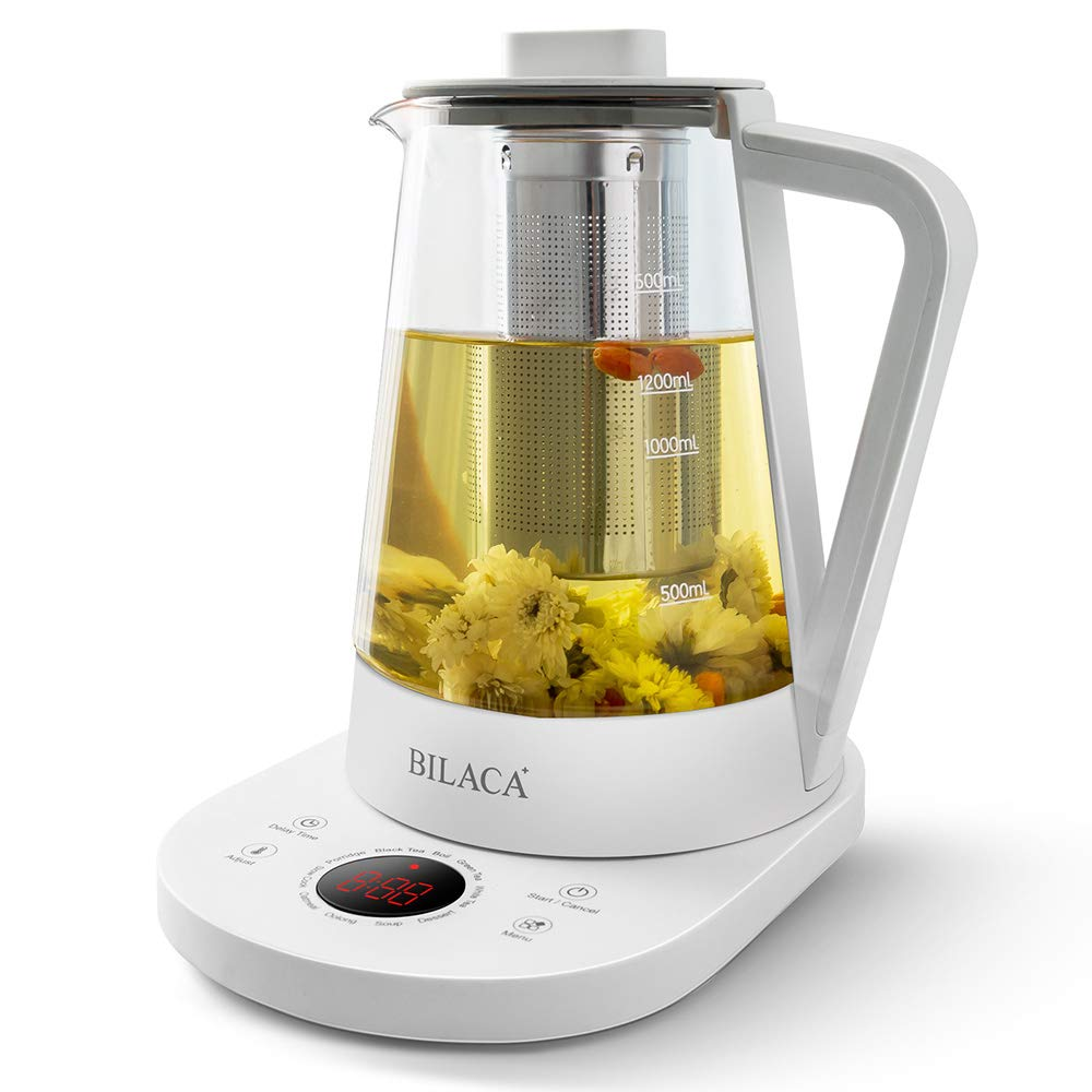 Smart Electric Tea Kettle 1.5 Liter Glass Tea Maker Slow Cook With Temperature Control Panel Base One Touch Kitchen Health Pot for Tea Coffee Soup Dessert