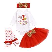 My 1st Valentine's Day Outfits Toddler Girl Clothes Romper Golden Dots Mesh Skirt Headband Leggings Set