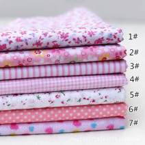 """JYRibbon 19.7"""" x 19.7"""" (50cm x 50cm) No Repeat Design Floral Printed 7 Flat Cotton Fabric for DIY Patchwork, Sewing Tissue to Patchwork, Quilting Squares Bundles (Pink)"""