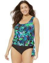 SWIMSUITSFORALL Swimsuits for All Women's Plus Size Side Tie Blouson Tankini Set