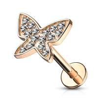 MoBody 16G Micro Paved CZ Butterfly Top Labret Piercing Surgical Steel Internally Threaded Monroe Lip Ring Helix Earring