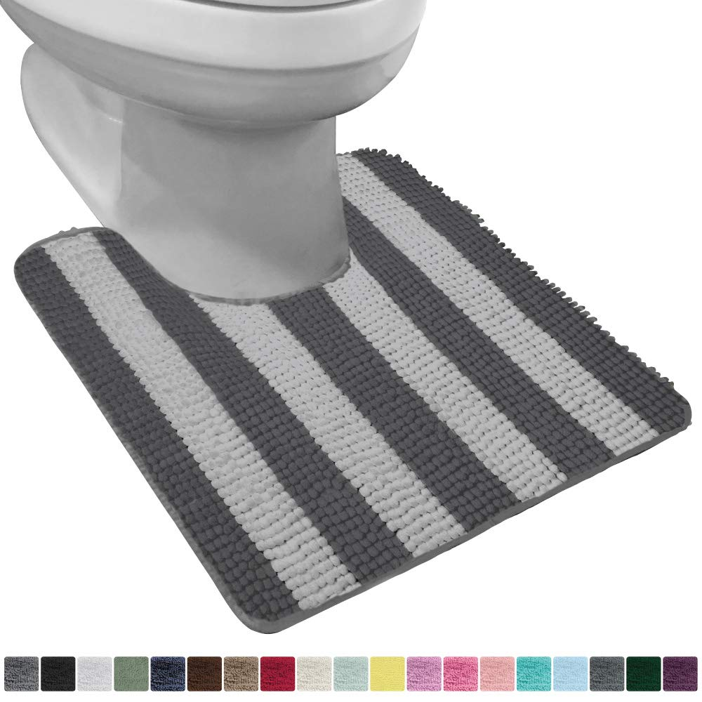 Gorilla Grip Original Shaggy Chenille Oval U-Shape Contoured Mat for Base of Toilet, 22.5x19.5 Size, Machine Wash and Dry, Soft Absorbent Contour Carpet Mats for Bathroom Toilets, Charcoal Light Gray