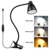 iVict Clip on Light Desk Light - 38 LED Clamp Desk Lamp, 3 Color Modes, 10 Dimming Levels, Auto Off Timer & Memory Function, Eye-Caring Book Light, Flexible 360° USB Reading Light Night Bed Light