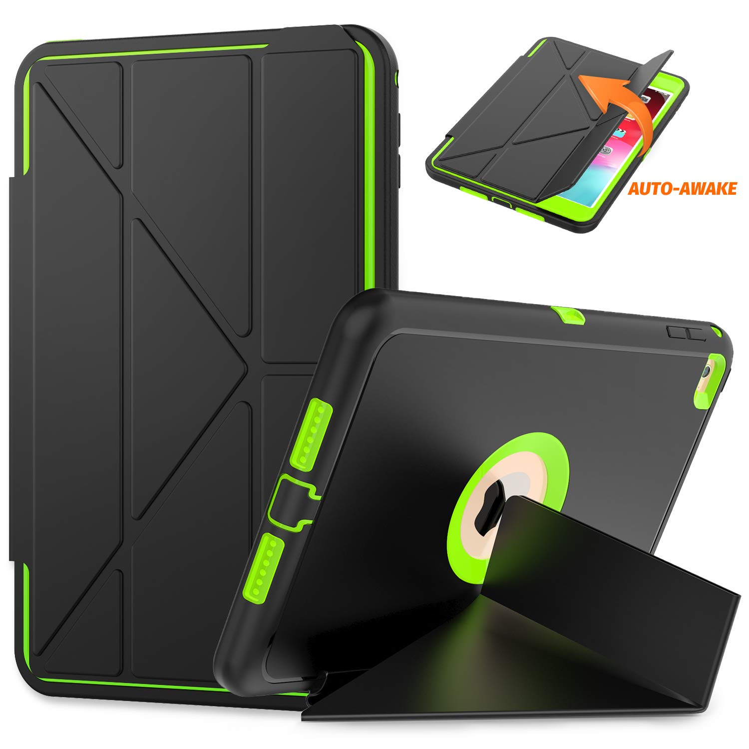 timecity Tablet Case for iPad Mini 4, iPad Smart Case 4th Generation, Protective Cover for iPad with Magnetic Auto Wake/Sleep (Fits iPad A1538,A1550 7.9 Inch 2015 Release), Black/Green