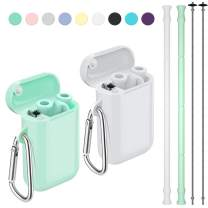 Reusable Straws, Funbiz 2 Pack Portable Silicone Collapsible Straw with Case and Extra Long Cleaning Brush for Kids Adult, BPA Free Foldable Travel Drinking Straws for Smoothie Coffee, Green & White