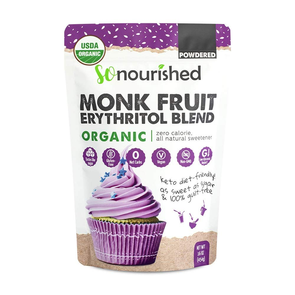 Organic Powdered Monk Fruit Sweetener with Erythritol Confectioners (1 lb / 16 oz) - Perfect for Diabetics & Low Carb Dieters - 1:1 Sugar Replacement Substitute, No Calorie Natural Sweetener