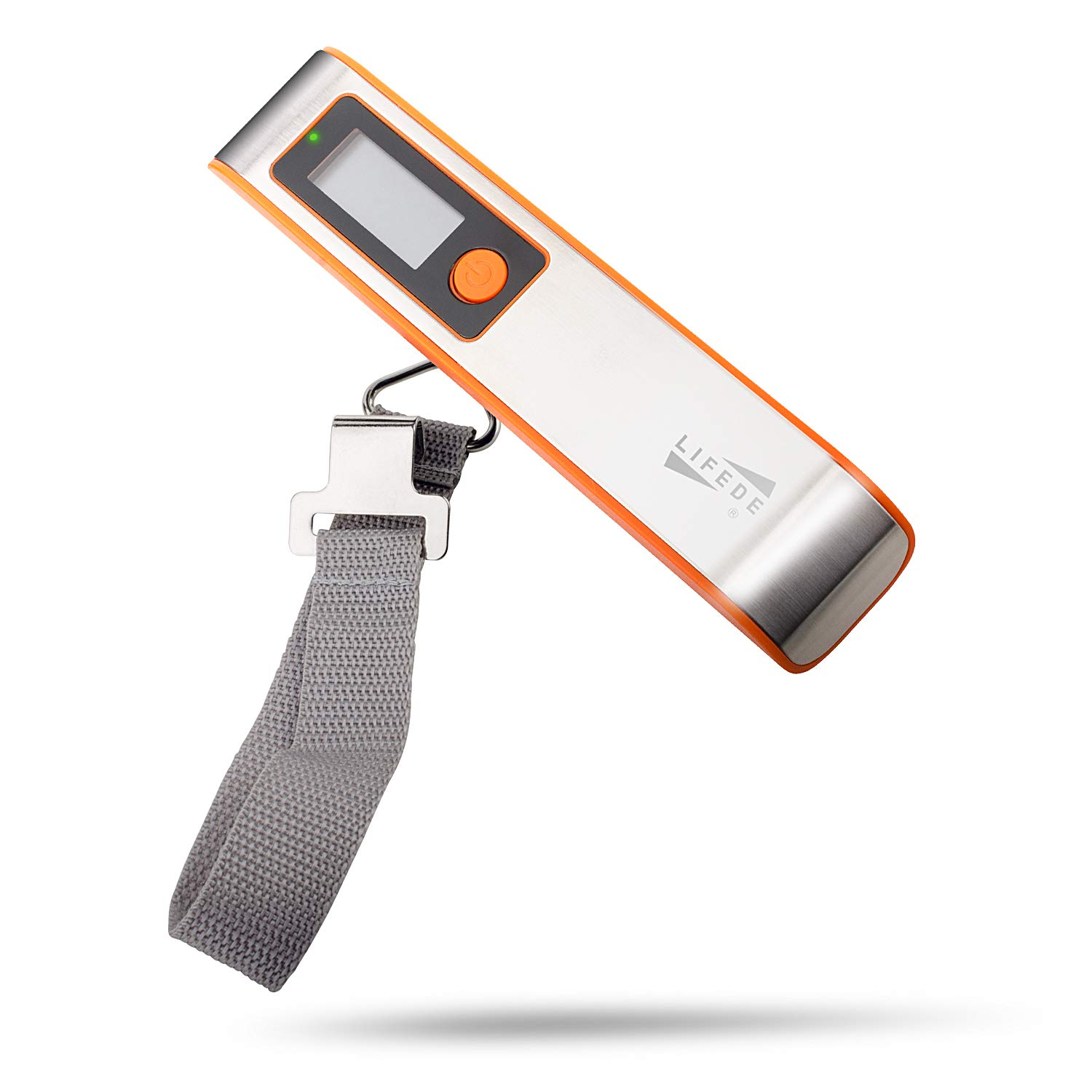 Digital Luggage Scale, Luggage Weight Scale with Weight Alarm Light, Portable Heavy Duty Weight Scale, Up to 110LB with Tare Function, Gift for Traveler, Orange.