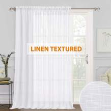 Extra Wide White Sheer Curtain - Long Semi-Sheer Curtain Drape with Linen Wave Pattern Summer Heat Fading Soften The Light for Foyer Window Living Room Farmhouse Cabin, Wide 100 x Long 95