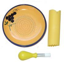 Cooks Innovations Ceramic Grater Plate 3 Piece Set - Grater, Peeler, Brush - Beautiful Grape Design - Blue & Yellow