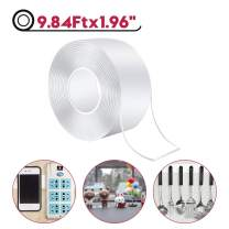 """Washable Adhesive Tape, Transparent Nano Tape Reusable Adhesive Silicone Tape Paste to Glass, Metal, Kitchen Cabinets or Tile (9.84Ft x 1.96"""")"""