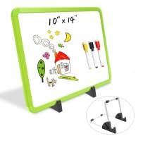 """Small Dry Erase Board 10 x 14"""", Desktop Whiteboard Easel, Double-Sided Magnetic White Board with Colored Frame for Home School Kids Toddler, Mini Portable Marker Board with 4 Markers 1 Eraser - Green"""