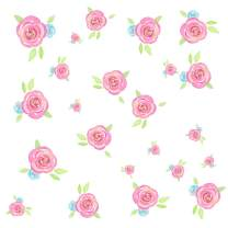 Easma Flower Wall Decals Pink Rose Wall Stickers Flower Wall Decor Girls Wall Decals Garden Bouquet Peel and Stick Wall Decals