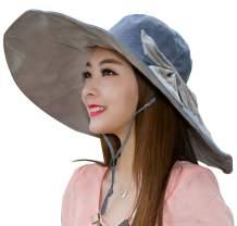 Women's Sun Hat Packable Reversible Bucket Hat UV Sun Protection Wide Brim Summer Beach Cap