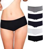 Emprella Women's Boyshort Panties (5-Pack) Seamless, Breathable Cotton Underwear | Colors & Patterns Vary