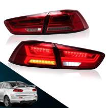 MICROPOWER LED Tail Lights for Mitsubishi Lancer EVO 2008-2017,Modified Rear Lamp with Sequential and Full LED DRL,Driver and Passenger Side (Red Clear)