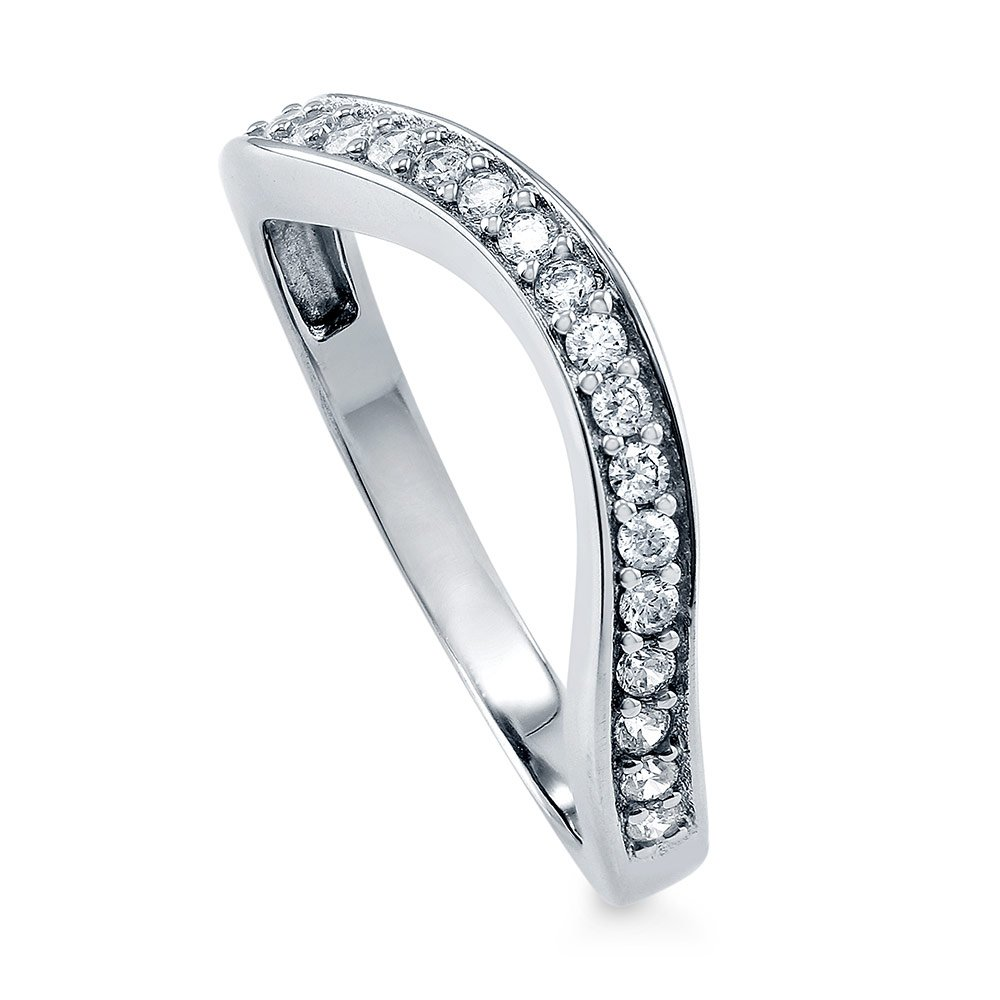 BERRICLE Rhodium Plated Sterling Silver Cubic Zirconia CZ Wedding Curved Half Eternity Band Ring