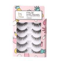 LANKIZ False Eyelashes 3D Faux Mink Long Lashes Reusable Natural Fake Eyelashes 5 Pairs Fluffy