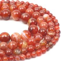 """Oameusa Natural Round Smooth 6mm Striped Agate Beads Gemstone Loose Beads Agate Beads for Jewelry Making 15"""" 1 Strand per Bag-Wholesale"""