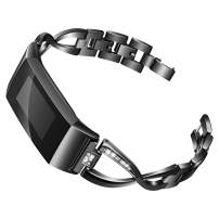 Joyozy Metal X-Link Bling Bands Compatible with Fitbit Charge 3/ Charge 3 SE Smartwatch, Replacement Wrist Accessory Fitness Bands Straps Bracelet Wristbands Women Men(Black)