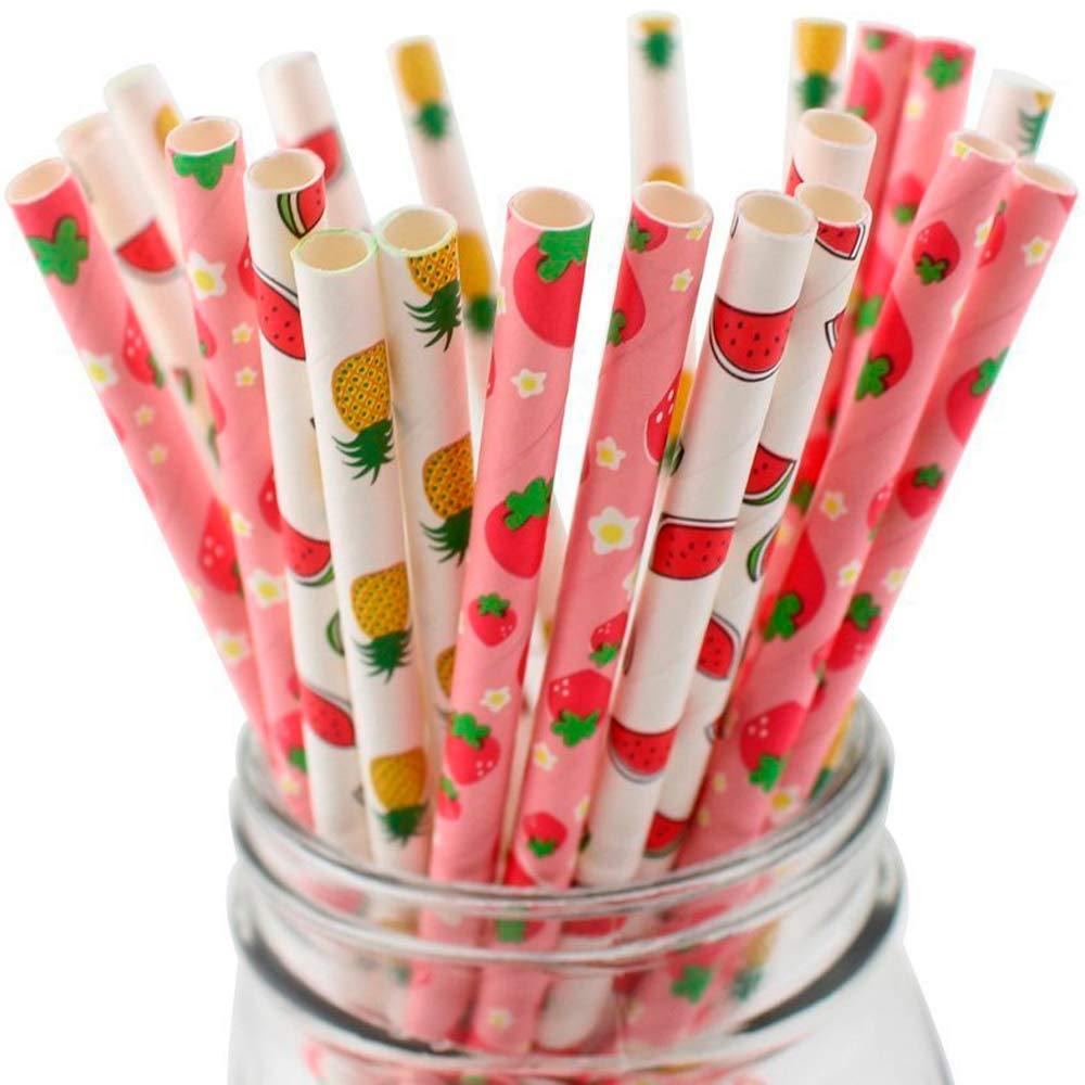 50-Pack Biodegradable Paper Drinking Straws for Party Supplies Bridal/Baby Shower Wedding Decorations, Bulk Paper Straws for Juices, Shakes, Smoothies, Four Fruits Theme