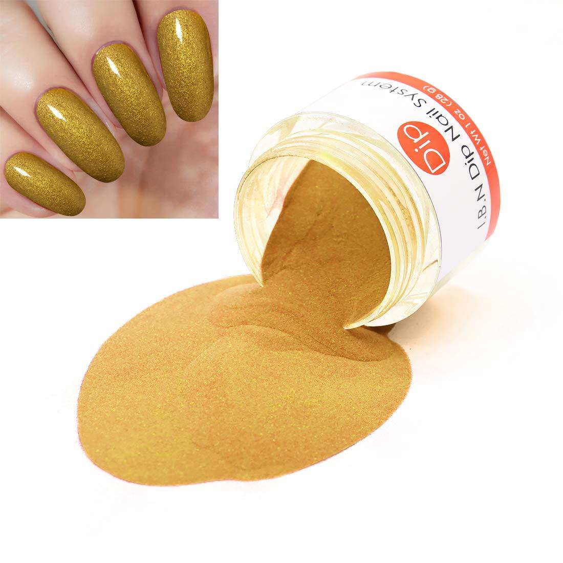 Gold Nail Dipping Powder (Added vitamin) I.B.N Dipped Acrylic Dip Powder DIY Manicure Salon Home Use, 1oz/28g (DIP 059)