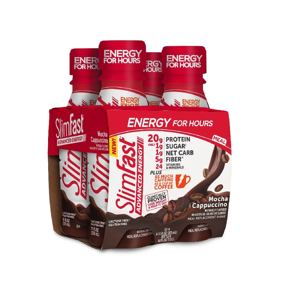 SlimFast Advanced Energy Mocha Cappuccino Shake – Ready to Drink Meal Replacement – 20g of Protein – 11 fl oz Bottle, 4 Count