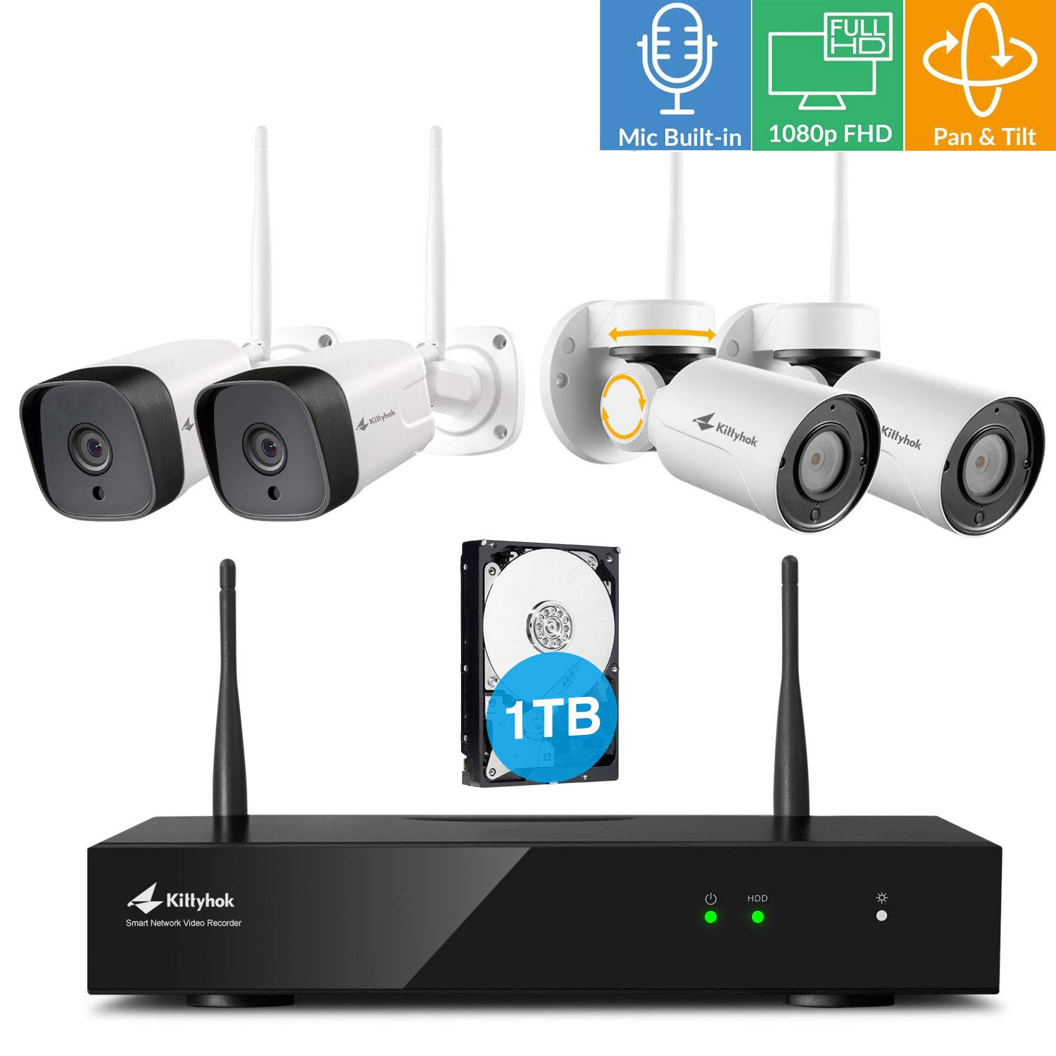 Kittyhok 8CH Home Security Camera System Wireless Outdoor/Indoor, 2pcs 1080P PTZ WiFi Cameras 2pcs 2MP Bullet Camera, 100ft Night Visioin, Weatherproof, Motion Detection, Remote View Control, 1TB HDD