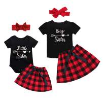 Kids Newborn Baby Girls Sister Outfit Letter Romper T-Shirt + Plaid Tutu Skirt Shorts Pants Dresses Clothes Set