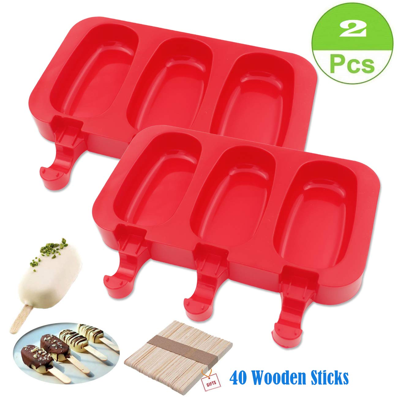 SAKOLLA Homemade Popsicle Silicone Molds with Lid, Ice Cream Bar Mold, 3 Cavities Silicone Ice Pop Mold with 40 Wooden Sticks, Set of 2 (Oval)