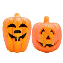 Eldnacele Pumpkin Shaped Flameless LED Candles with 6 Hours Timer Set of 2, Halloween Jack O Lantern Candle Lights for Halloween Decorative Party Festival Events Decoration