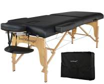 """Massage Table Portable Massage Bed Spa Bed 77""""Long 28""""Wide Heigh Adjustable 2 Fold 3""""Thick Density Sponge PU Portable Massage Table Bed w/Carry Case Facial Cradle Salon Tattoo Bed"""