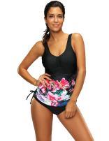 Women Vintage Swimdress Halter Sailor Pin up Swimsuit One Piece Skirtini Bathing Suits