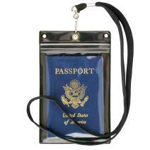 StoreSMART Sport - Zipper Passport Holder with Lanyard 10-Pack - Clear Plastic Front & Black Plastic Back - SPCR1596ZIPS-10