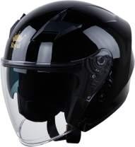 Royal R02 Open Face Motorcycle Helmet with Extra Sun Visor Inside for UV Resistance - DOT Approved (Gloss Black, S)