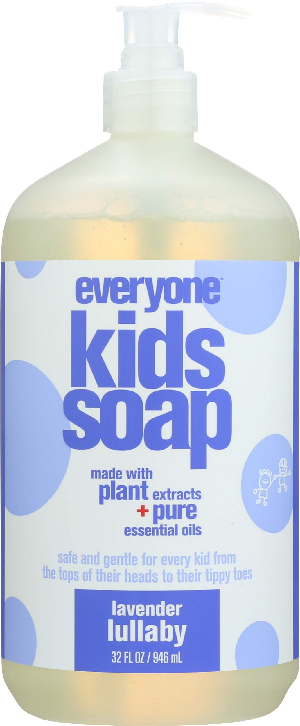 Everyone 3-in-1 Soap for Every Kid Safe, Gentle and Natural Shampoo, Body Wash, and Bubble Bath, Lavender Lullaby