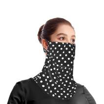 Open Front Bandanas Seamless Rave Scarf for Women Polka Dots Balaclavas UV Neck Gaiter for Dust Outdoors Sports