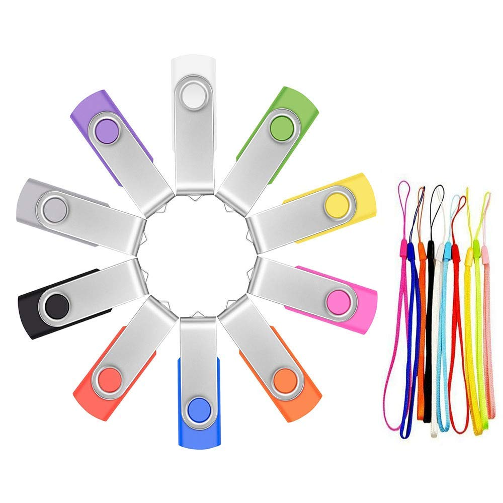 Flash Drive 32GB 10 Pack USB 2.0 Memory Sticks in Bulk Zip Drive,Thumb Drives 32 GB Multi-Color Portable Swivel Value Pen Drive,FEBNISCTE Multipack Jump Drive Data Storage Pendrive with Lanyard