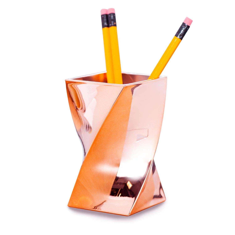 Zodaca Pen Holder [Wave Design] Stylish Twist Rose Gold Pen Holder, Chrome Color Pencil Cup, Makeup Brush Organizer