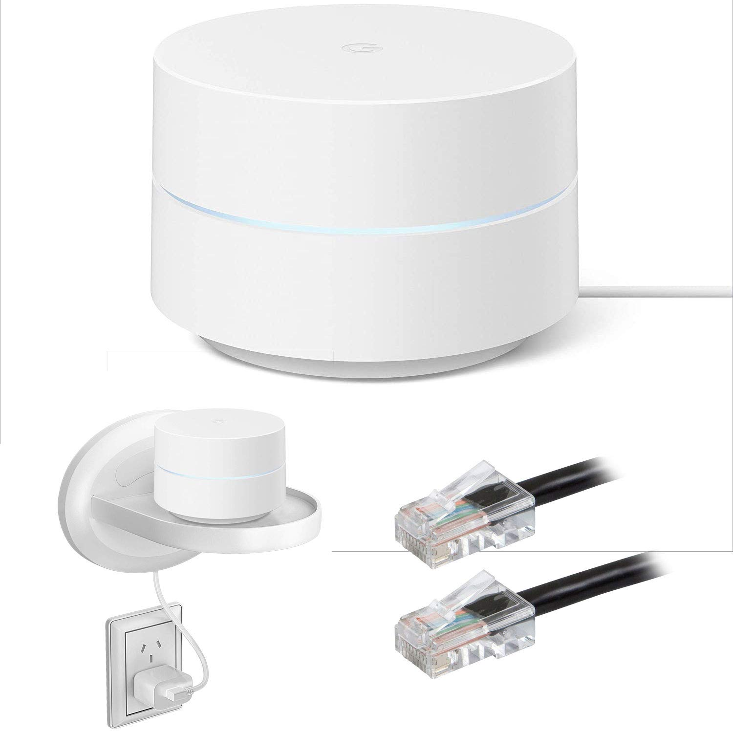 Google Wi-Fi System Mesh Router 1-Pack (GA00157-US) Bundle with Deco Gear Wall Mount Shelf Stand for Google Wi-Fi & Home and ZERObootCat6 Ethernet Patch Cable