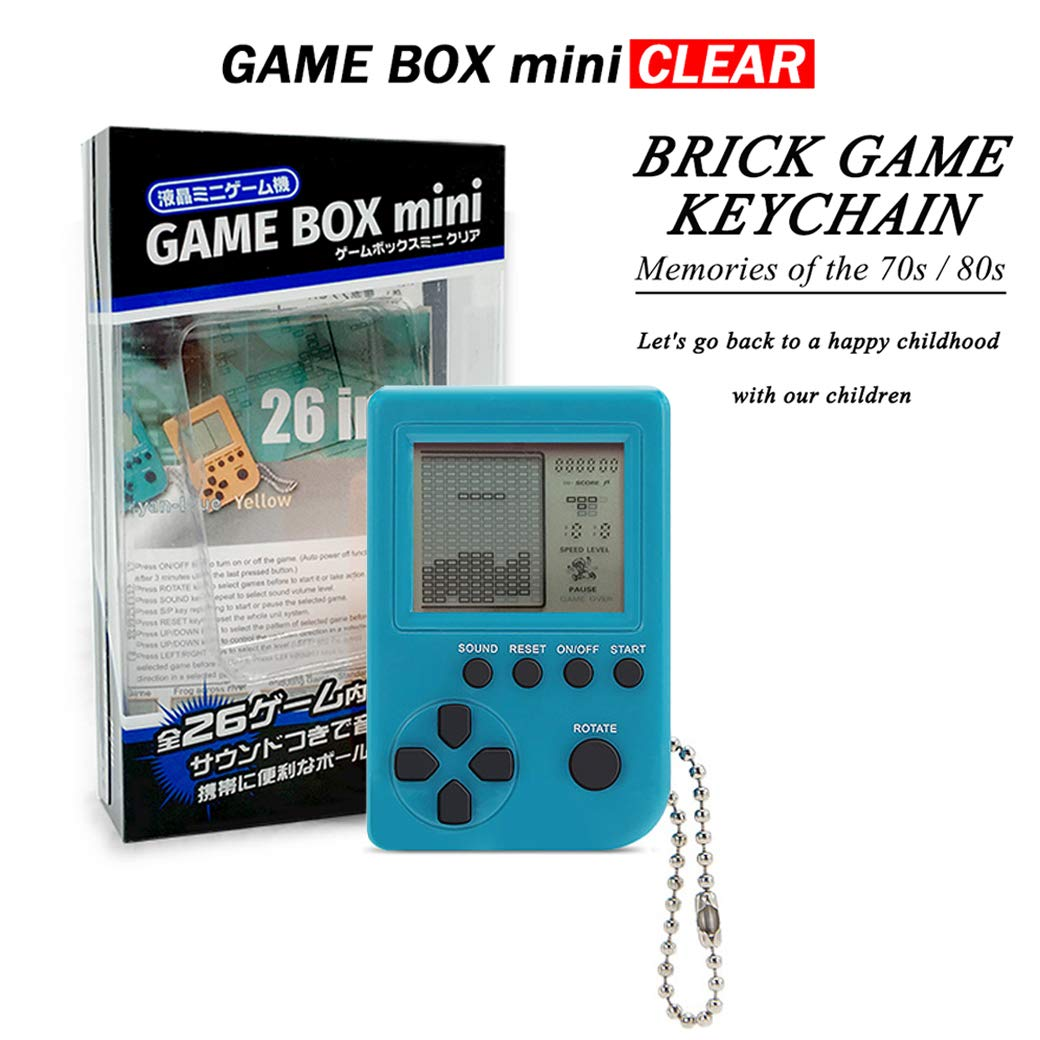KincoBa Brick Game Keychain,with Hanging Chain,Mini Size,Bright Colors,Built-in 26 Brick Game Matches,Best Birthday Festival Gift for 4-12 Year Children (SkyBlue)