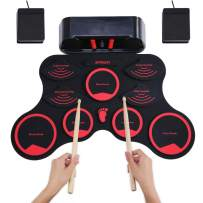 ammoon Electronic Roll-up Drum Set Digital MIDI Drum Kit 9 Silicon Durm Pads Built-in Stereo Speakers Rechargeable Lithium Battery with 2 Foot Pedals for Kids Children Beginners