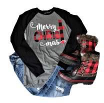 Buffalo Plaid Christmas Shirt for Women Merry Christmas Graphic T-Shirt Xmas Tree Shirts