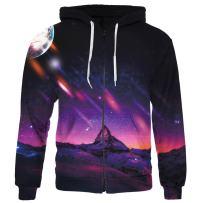 SAYM Unisex Zip Up Pullover Pockets Galaxy Jackets Sweatshirts Hoodies