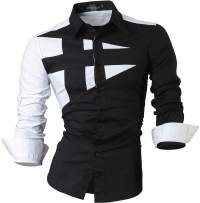 jeansian Men's Slim Long Sleeves Casual Button Down Dress Shirt 8397 Black XL