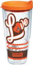 Tervis 1280533 NFL Cleveland Browns Love Tumbler with Wrap and Orange Lid 24oz, Clear
